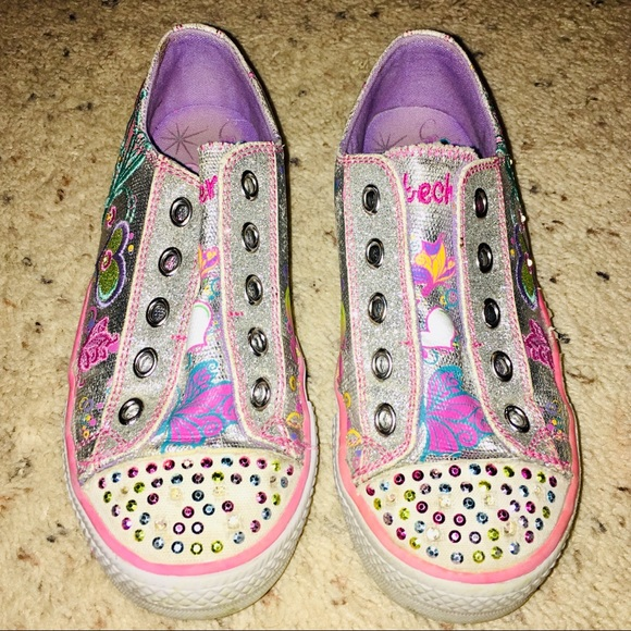 skechers silver twinkle toes